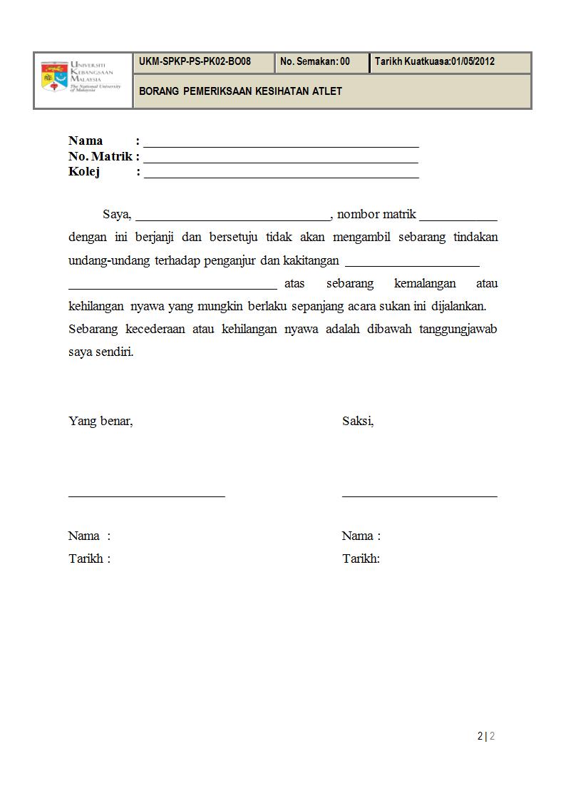 Ukm Spkp Ps Pk02 Bo08 Borang Pemeriksaan Kesihatan Atlet Doc